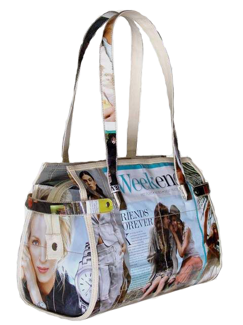 """Angelina"" Recycled Magazine Handbag"