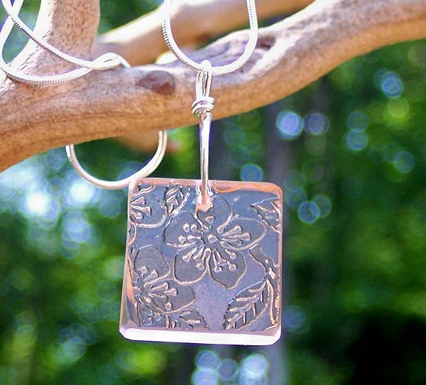 Pink Depression Glass Square Pendant