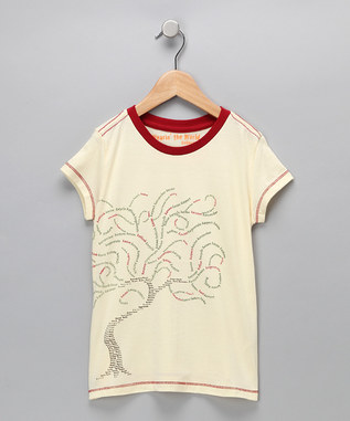 EARTH DAY Winter White 'TREE' Organic Tee - Girls