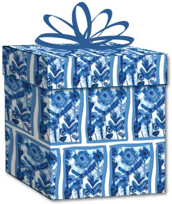 100% Recycled Wrapping Paper - Blue Flowers