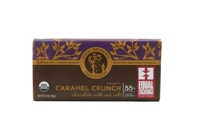 Organic Dark Chocolate Caramel Crunch with Sea Salt (55% Cacao) - 12 Pack