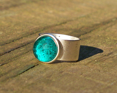 Recycled Glass Ring - - Ice Blue